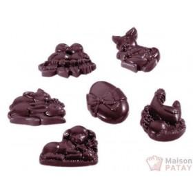 MOULES A CHOCOLAT : PLAQUE 3X6 SUJETS Pâques SANS BPA