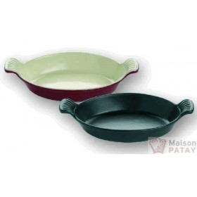 FONTE EMAILLEE : PLAT OVALE FONTE ROUGE L250MM