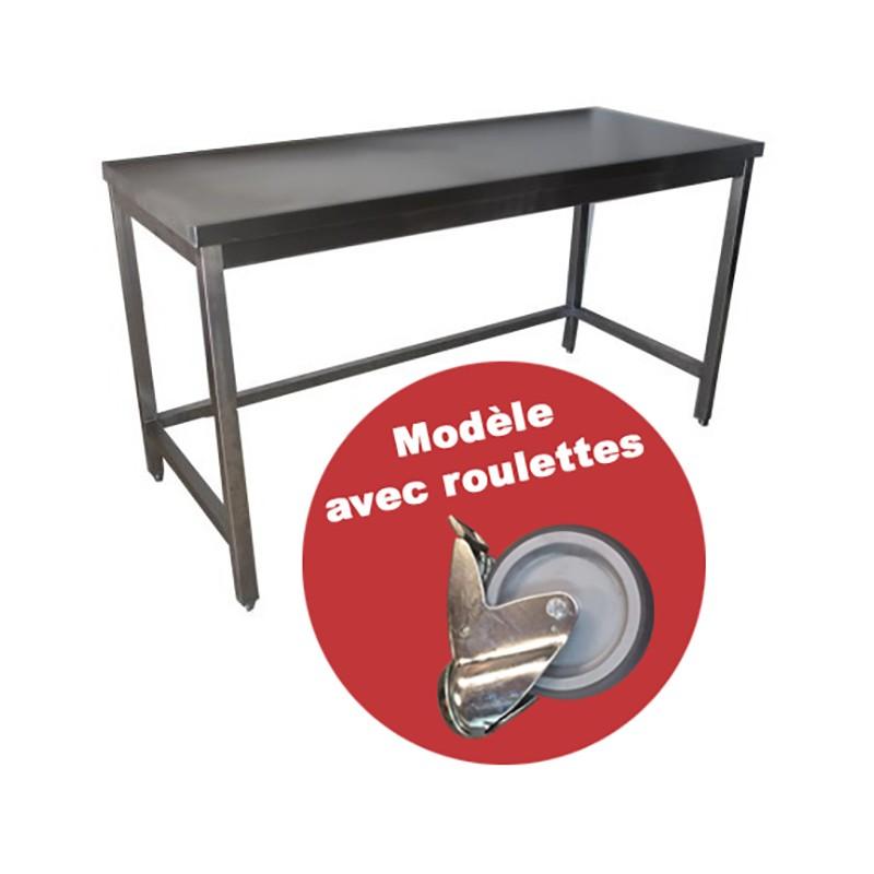 CONFIGUREZ VOTRE TABLE INOX A ROULETTES